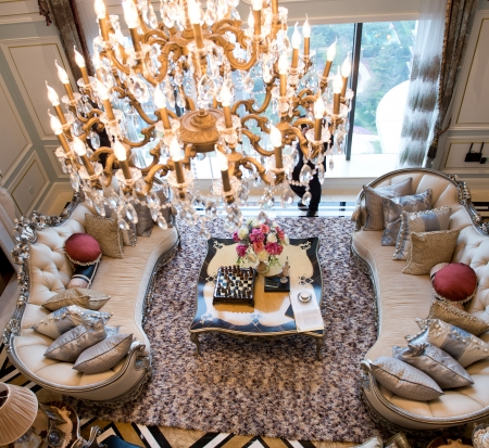 carpet and flooring: Top view of luxury living room.