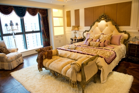 master bedroom: Comfortable bedroom in a luxury home.