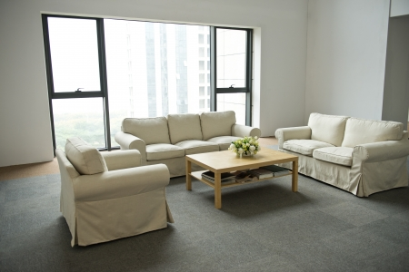 settee: modern living room with sofa and coffee table.