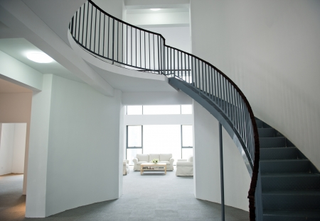 foyer: Modern interior of hall with staircase.