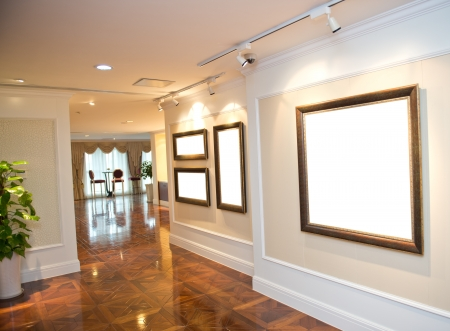 home  lighting: modern interior with frame on the wall. Editorial