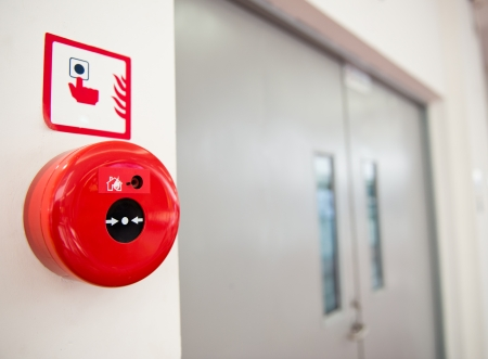 alarm system: Fire alarm on the wall.