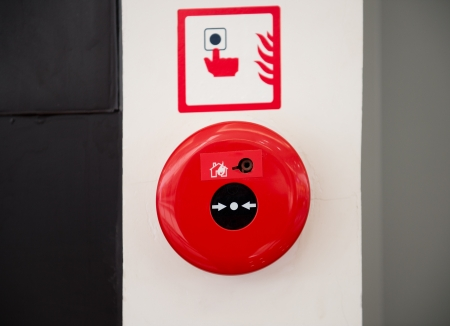 Fire alarm on the wall. photo