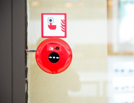 fire protection: Fire alarm on the wall of shopping center. Stock Photo