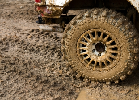close-up shot of wheel in dirt. Stock Photo - 20038476