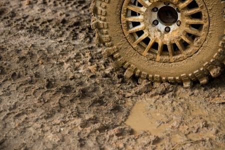close-up shot of wheel in dirt. Stock Photo - 20038474
