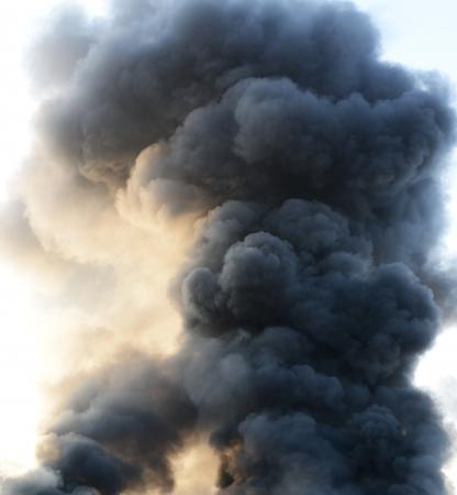 tornado: thick dark smoke in a fire.