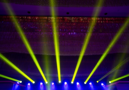 searchlight: spotlights on a theatre stage. stage lights