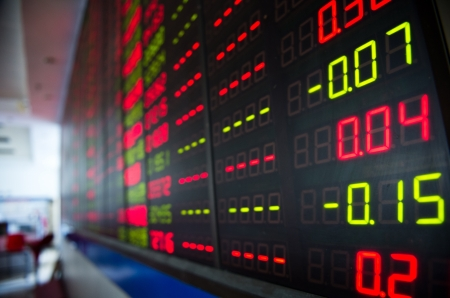 shares: Display of Stock market quotes in China.