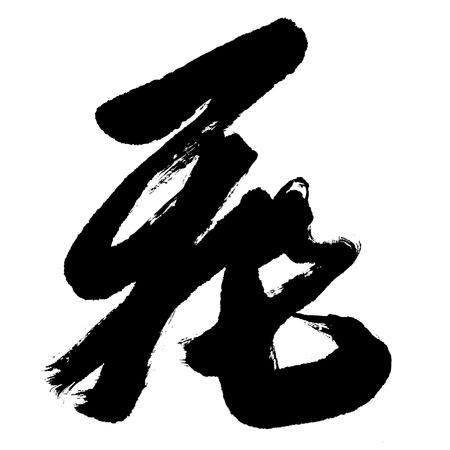 brushstokes: Illustration of black Chinese calligraphy. word for fly Stock Photo