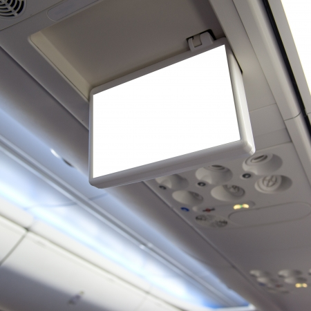 Display screen in the airplane. photo