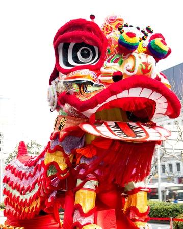 중국의 전통 새해 사자. 스톡 콘텐츠