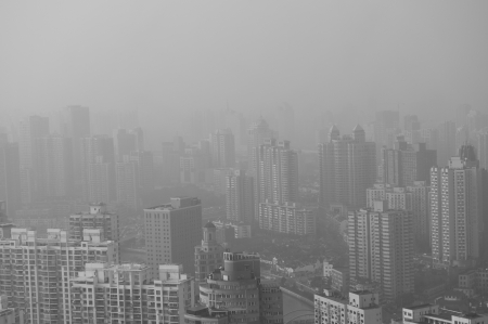 Big city in the fog, shanghai. Stock Photo