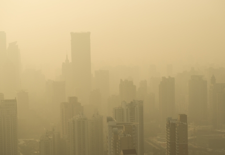 air pollution: Big city in the fog, shanghai. Stock Photo