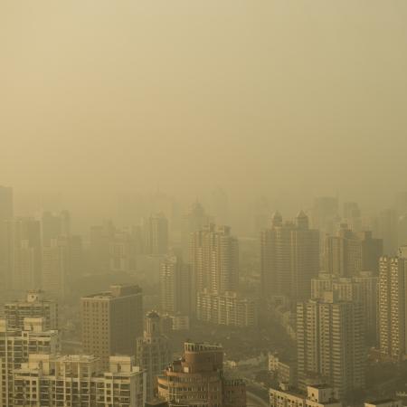 Big city in the fog, shanghai. Stock Photo