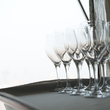 goblet: Group of goblet on table.