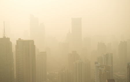 haze: Big city in the fog, shanghai. Stock Photo