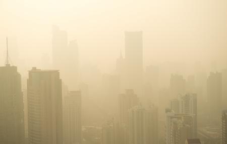 haze: Big city in the fog, shanghai. Stock Photo