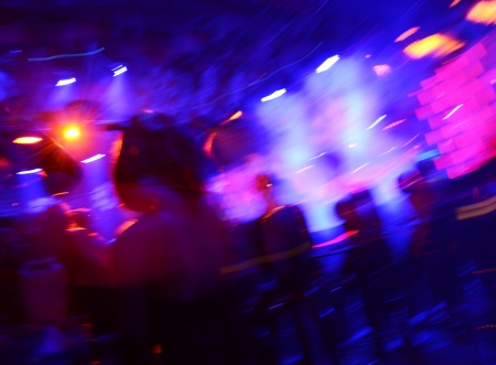 music hall: Dancing people in a disco, cheery party.