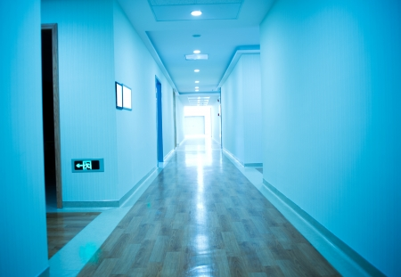 office ceiling: long corridor in the hospital.