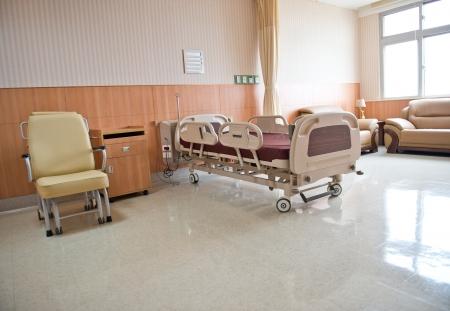 nursing unit: Clean empty bed in a hospital ward