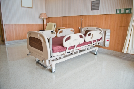 sickroom: Clean empty bed in a hospital ward