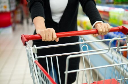 Closeup of woman with shopping cart. photo
