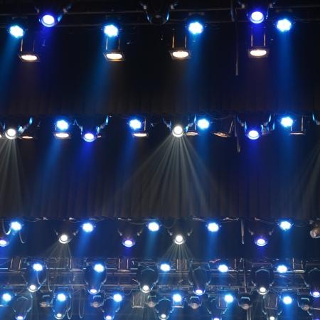 efectos especiales: iluminación del disco en el escenario. Foto de archivo