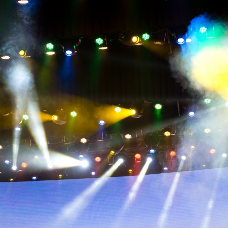 stage lighting: disco lighting in the stage. Stock Photo