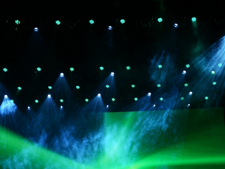 performace: disco lighting in the stage. Stock Photo