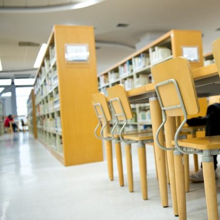 public school: Study area inside a modern library.