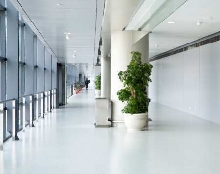 healthcare office: empty corridor in the modern office building.