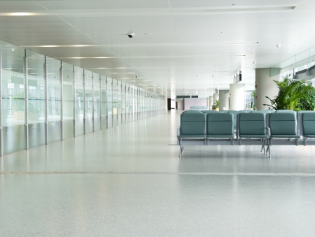 Empty departure lounge at the airport photo