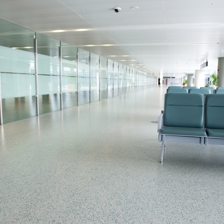 waiting area: Empty departure lounge at the airport