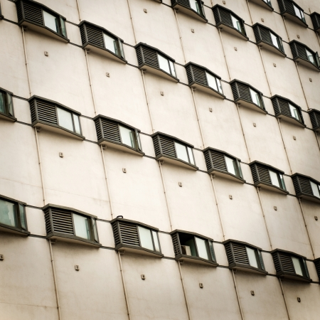 Wall with many air-conditioners, China. photo