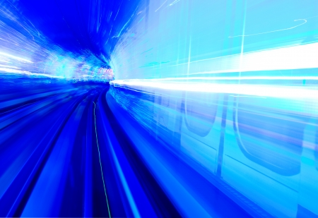 highspeed: Abstract train moving in tunnel. Stock Photo
