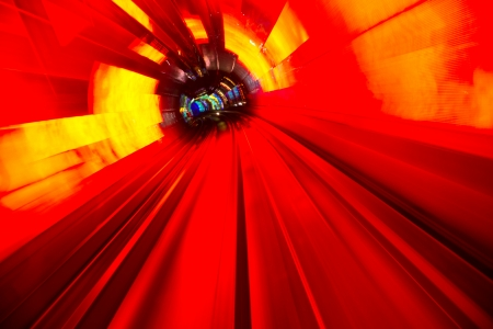 Abstract train moving in tunnel. Stock Photo