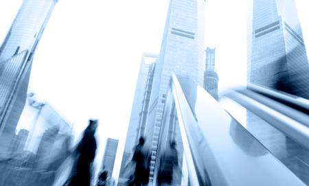 people in elevator: Escalator in Shanghai streets, blur motion.