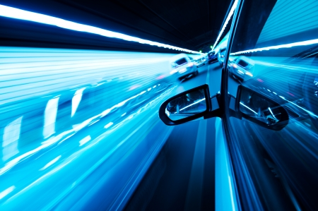 tunnel view: View from Side of high-speed car in the tunnel, Motion Blur Stock Photo