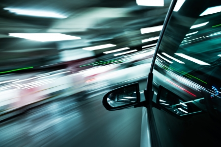 car park: View from Side of high-speed car in the tunnel, Motion Blur Stock Photo