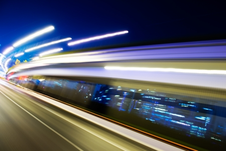 Abstract traffic lights in motion blur at night.