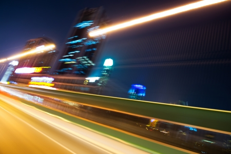 night traffic: Abstract traffic lights in motion blur at night.