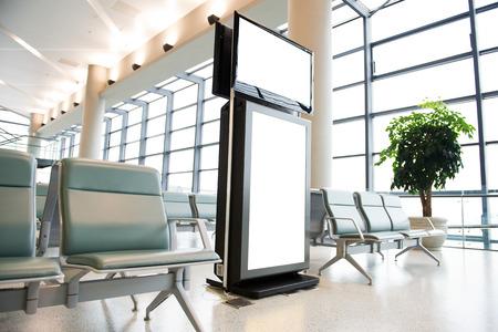Blank billboard at a international airport. photo
