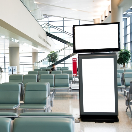 copy room: Blank billboard at a international airport.