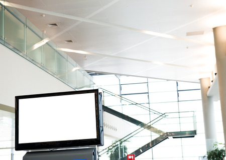 blank billboard: Blank billboard at a international airport.