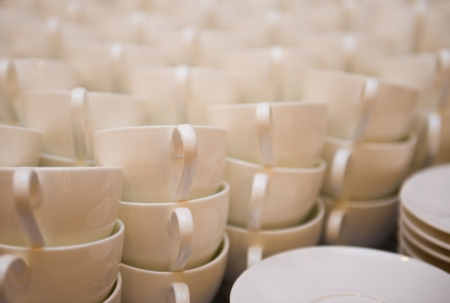 Group of coffee cups in cafe bar. photo