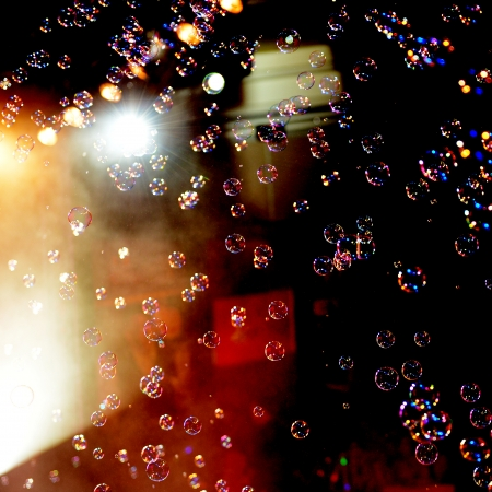 air bubbles: Group of soap bubbles on the stage.
