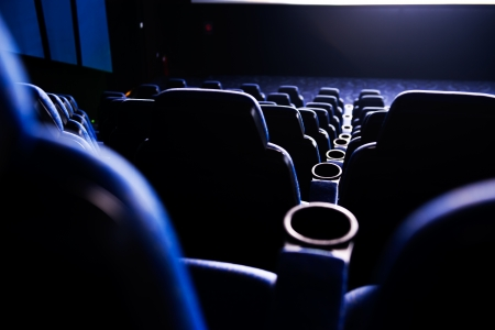 film festival: Empty rows of streets in a cinematheater. Stock Photo