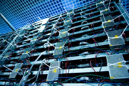 multicore: Server front side showing  switches and wiring.