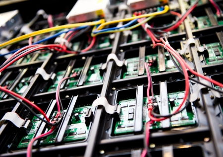multicore: Server front side showing colorful switches and wiring.